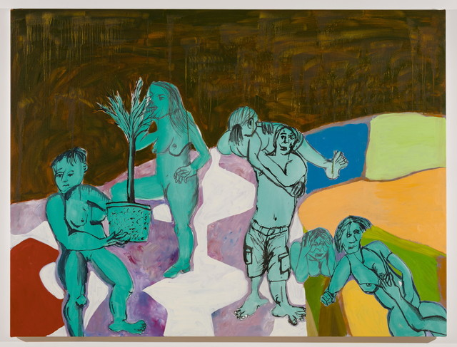 , 'Untitled (six figures with potted plant),' 2017, MARTOS GALLERY