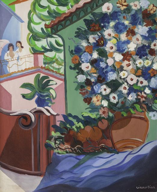 , 'Vaso de Flores e Moças no Alpendre,' década de 1950, Simões de Assis Galeria de Arte