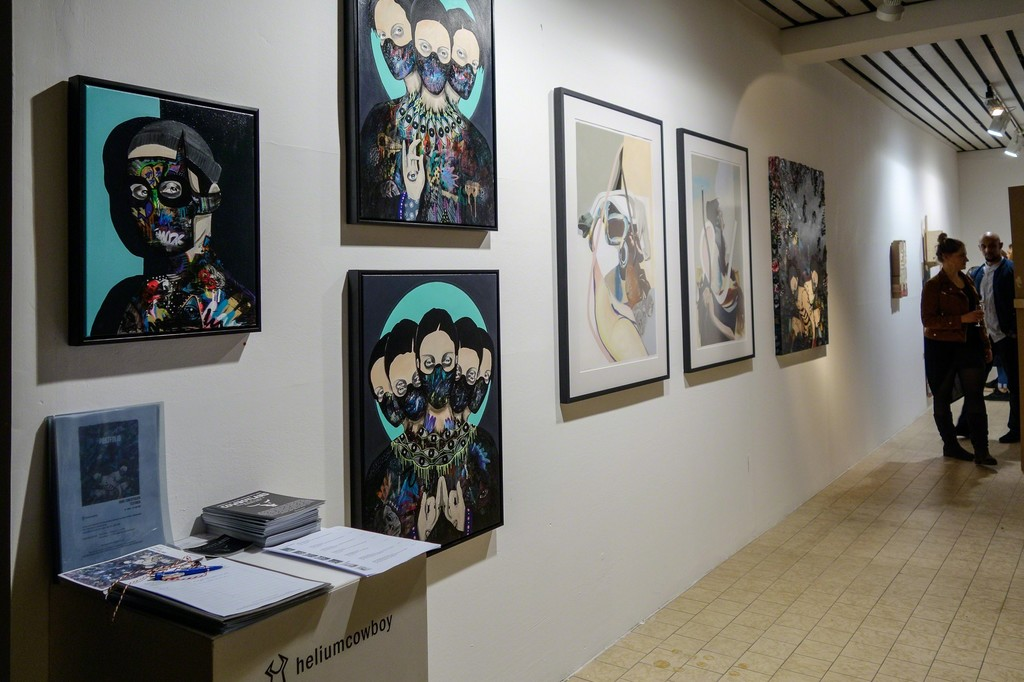 Installation view featuring work of Rune Christensen and Jaybo Monk.