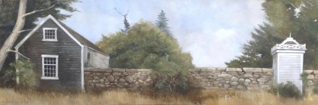 """Michel Brosseau, '""""Up Island Retreat"""" Oil painting of Pastoral Martha's Vineyard Landscape With Green Yellow Grey Blue  ', 2010-2017, Eisenhauer Gallery"""