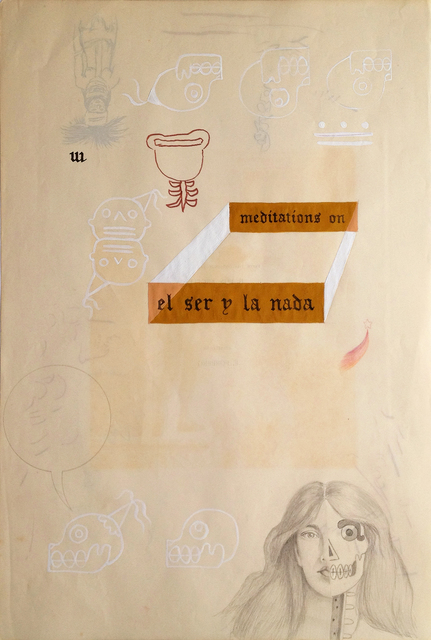 Enrique Chagoya, 'Ghostly Meditations (meditations on el ser y la nada)', 2012, Mixed Media, Acrylic and India ink on de-acidified 19th century paper (facing pages of etchings from a 19th century book), Lisa Sette Gallery