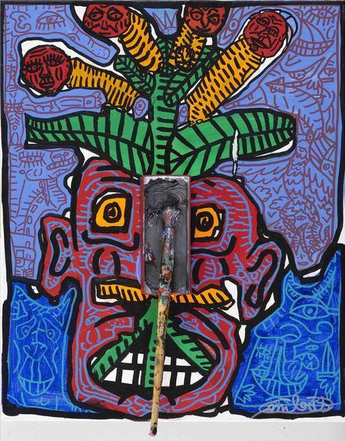 , 'Tralala la lère Ta tête rouge d'avoir trop chaud, tu te fais peindre le portrait, le nez en gris foncé. Vas y Dédé, c'est le pied!,' 2018, Galerie Laurent Strouk
