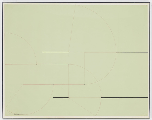 Barry Le Va, 'Installation Study (4 Length Section)', 1973, Drawing, Collage or other Work on Paper, Drawing on green paper, David Nolan Gallery