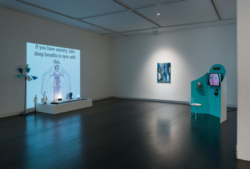 Video installations by Shana Moulton, oil painting by Heidi Hahn. Photo by Mario Gallucci.