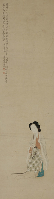 Gai Qi, 'Lady Playing a Flute', Undated, Painting, Hanging scroll, ink and colors on paper, Art Museum of the Chinese University of Hong Kong