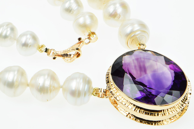 """Michael Baksa, 'A Bookmark for my Love', 2019, Jewelry, 101.10 ct. Oval/Flower Cut Amethyst with 13-16 mm South Sea Circle Pearls/14k Yellow Gold Forged Clasp hooks/OAL 20"""", Miller White Fine Arts"""