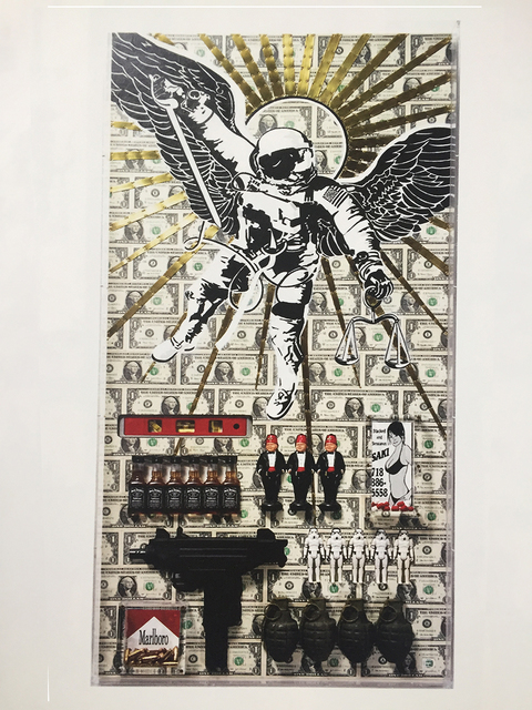 """Dylan Egon, '""""A Prayer to Saint Michael""""', 2008, Sculpture, Assemblage and collage on panel, Parlor Gallery"""