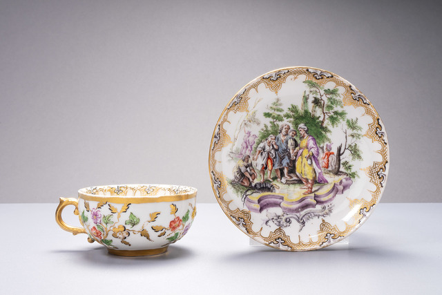 Nymphenburg Porcelain Manufactory, 'Tea cup and saucer with relief decoration, painted with a biblical scene', 1755, Design/Decorative Art, Nymphenburg porcelain, Langeloh Porcelain