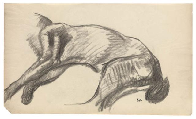 Théophile Alexandre Steinlen, 'Etude d'un corps de chat allonge', 1910-1915, Fairhead Fine Art Limited