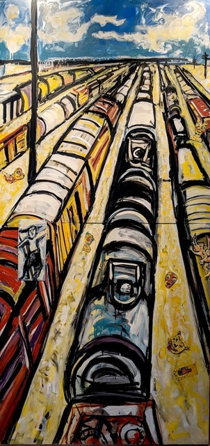 Marta Sanchez, 'Vertical Train Yard', 2005, Painting, Oil and enamel on metal, InLiquid