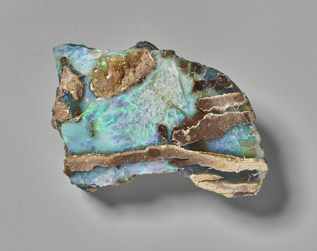 Opal, Virgin Valley, Humboldt County, Nev. Yale Peabody Museum of Natural History, inv. no. ypm min.057375. Courtesy the Division of Minerals; Peabody Museum of Natural History, Yale University; peabody.yale.edu