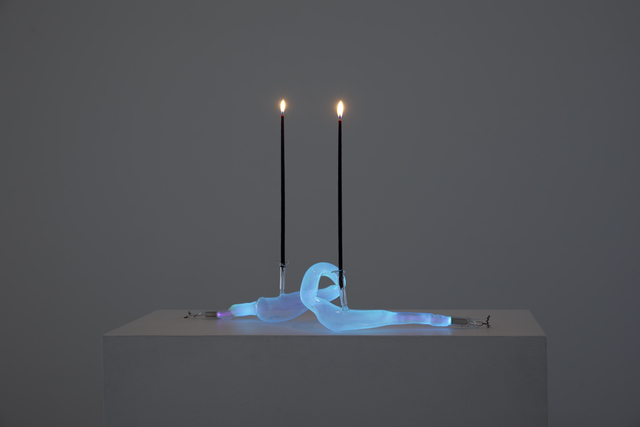 Meryl Pataky, 'Kol Nidre', 2021, Sculpture, Neon, soft glass, phosphor, argon and candles, Bim Bam Gallery