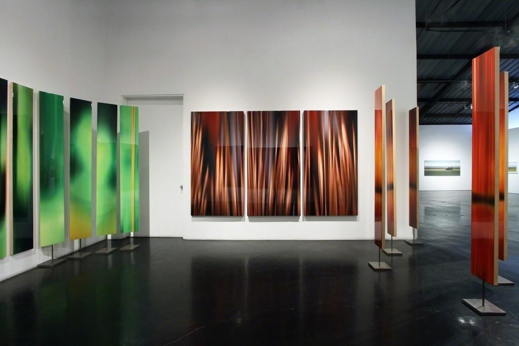 "Michel Tabori, Red Wood Night, 2018, Oil, acrylic, resin, canvas on panel 57"" x 75"", $18,500"