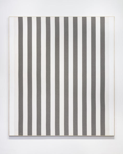 , 'White acrylic paint on white and gray striped cotton canvas,' 1966, Nahmad Contemporary