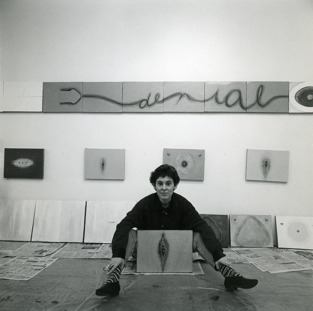 "Mira Schor with ""War Frieze XII Area of Denial-Egg"" in her studio at the Marie Walsh Sharpe Foundation in 1993. (Photo by Sarah Wells)"