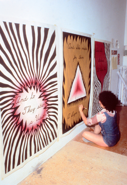 ", 'Judy Chicago Designing the Entry Banners for ""The Dinner Party,"",' 1978, Brooklyn Museum"