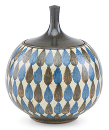 Covered jar with teardrop pattern, Claremont, CA