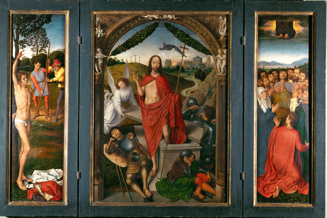 Hans Memling, 'Triptych of the Resurrection with Saint Sebastian (left wing) and Ascension of Christ (right wing)', ca. 1485-1490, Painting, Oil on panel, Erich Lessing Culture and Fine Arts Archive