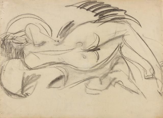, 'Liegender Akt (nach links), verso: Liegender Akt (nach rechts),' 1914, Dierking