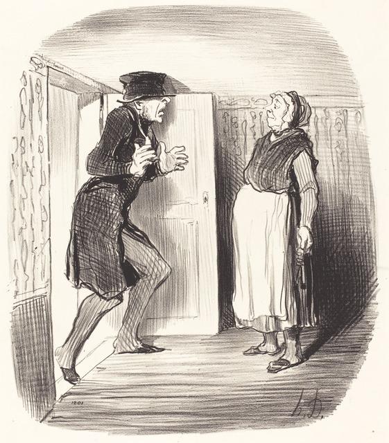 Honoré Daumier, 'Inconvénient de visiter sans précaution un entresol...', 1847, National Gallery of Art, Washington, D.C.