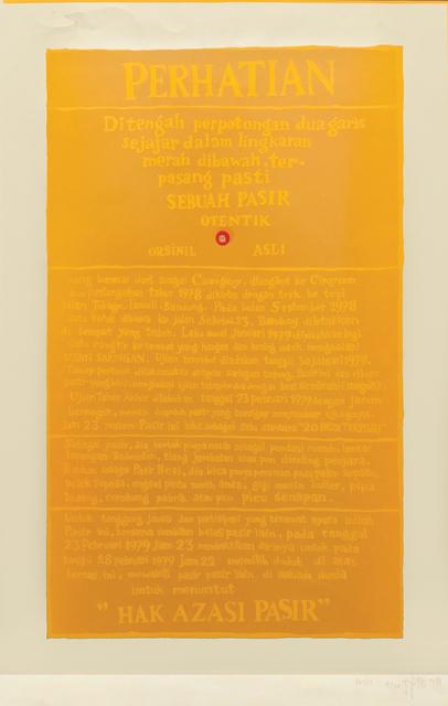 , 'Hak Azasi Pasir (The Sand's Right),' 1979, Mizuma Art Gallery