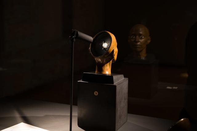 Elizabeth King, 'By Ear', 2004, Sculpture, Bronze, glass eyes, Belgian black marble plinth, MASS MoCA