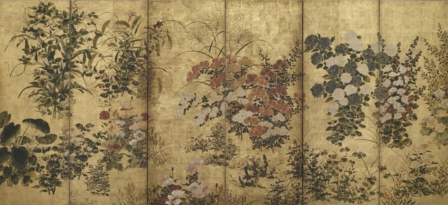 'Summer and Autumn Flowers', 17th century, Painting, Color over gold on paper, Smithsonian Freer and Sackler Galleries