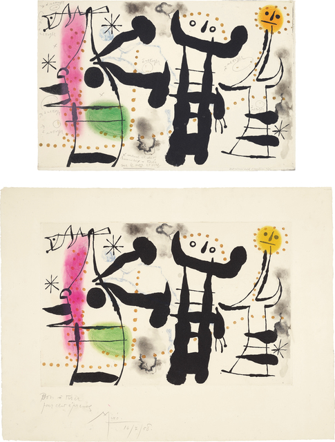Joan Miró, 'Les philosophes II (The Philosophers II): two impessions', 1958, Phillips