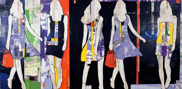 , 'Striped Walking Girls,' 2016, Caldwell Snyder Gallery