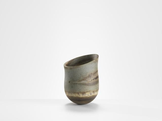 , 'Slate-blue speckled, granite and olive haloed bands, olive base, tilted shelf,' 2017, Gallery LVS