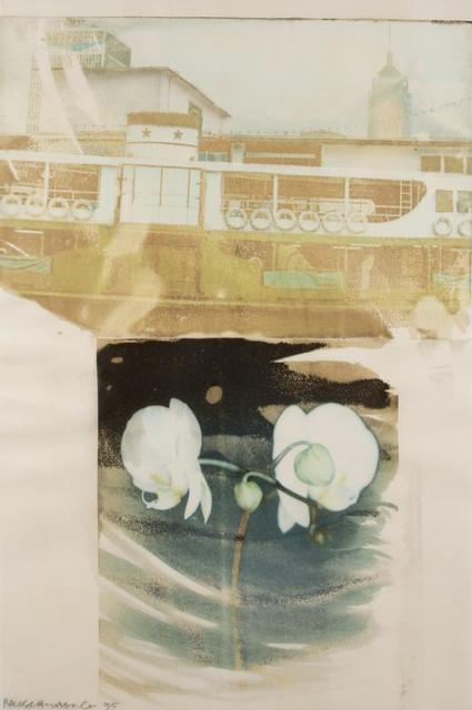 Robert Rauschenberg, 'Slipper 2 (Waterworks)', 1995, Drawing, Collage or other Work on Paper, Inkjet dye on transfer paper, Evelyn Aimis Fine Art