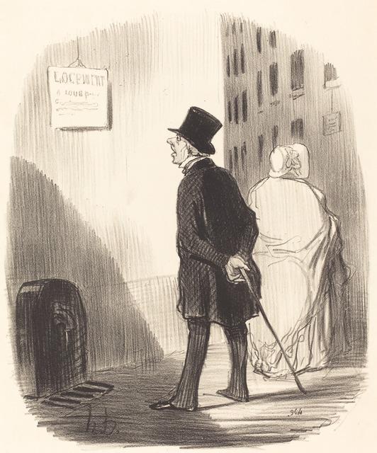 Honoré Daumier, 'Tiens, voilà un écriteau que ma femme a passé...', 1848, National Gallery of Art, Washington, D.C.