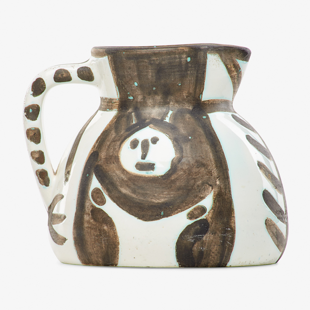 "Pablo Picasso, 'Pitcher, ""Little-Headed Pitcher (Pichet Petites Têtes),"" edition of 300, France', Glazed earthenware with black oxide, Rago/Wright"