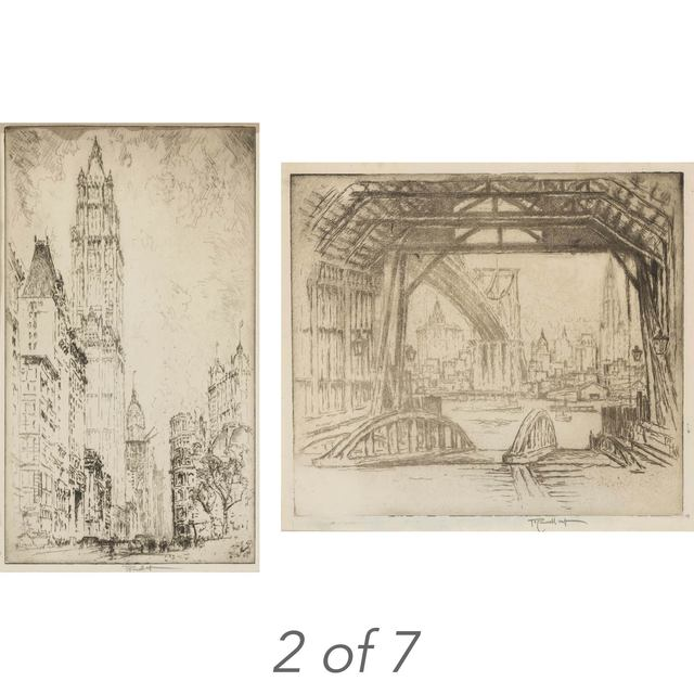 Joseph Pennell, '(i)WALL STREET; WOOLWORTH BUILDING; THE ELEVATED; MONTAGUE TERRACE; THE DESERTED FERRY (WUERTH 344; 675; 789; 832; 838) (ii) LIBERTY STREET (iii) [TRINITY CHURCH]', 1904, Doyle