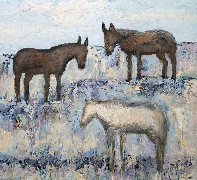 Theodore Waddell, 'Mariah and the Mules', 2014, Painting, Oil and encaustic on canvas, Gerald Peters Gallery
