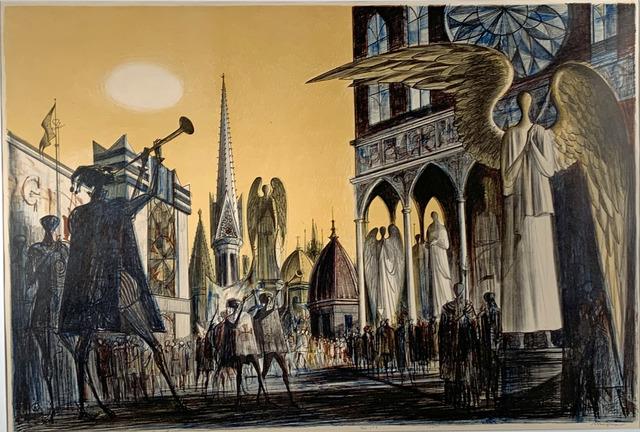 Joseph A. Mugnaini, 'PAGEANT', 1962, Print, Color Lithograph, Edward T. Pollack Fine Arts
