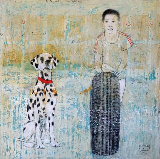 , 'Red Line,' 2018, al markhiya gallery