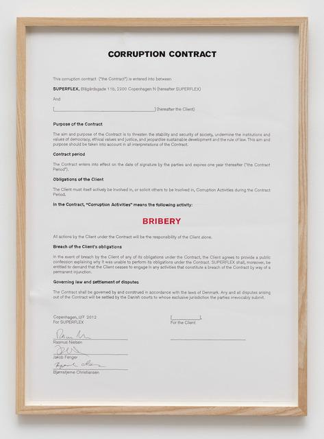 , 'Corruption Contract Bribery,' 2012, von Bartha