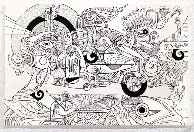 Fernando Chamarelli, 'Back to the Sea', 2018, Drawing, Collage or other Work on Paper, Ink on paper, ANNO DOMINI