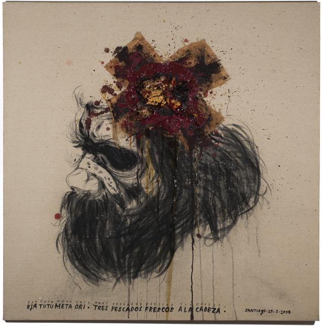 Santiago Olazabal, 'Three Fish on the Head (Eja Tutu Meta Ori / Tres Pescados Frescos a la Cabeza) ', ca. 2017, Painting, Mixed Media on Canvas, Sager Braudis Gallery