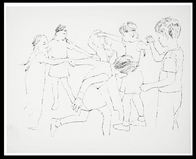 Andy Warhol, 'Children Playing Ring Around the Rosie, Happy December', 1956, Woodward Gallery
