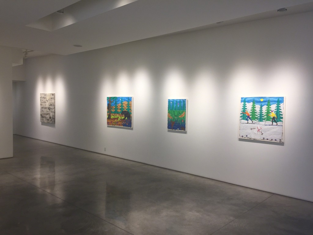 Bill Braun's paintings in the north gallery.  (Jerry Iverson's Language #230 in the background.)