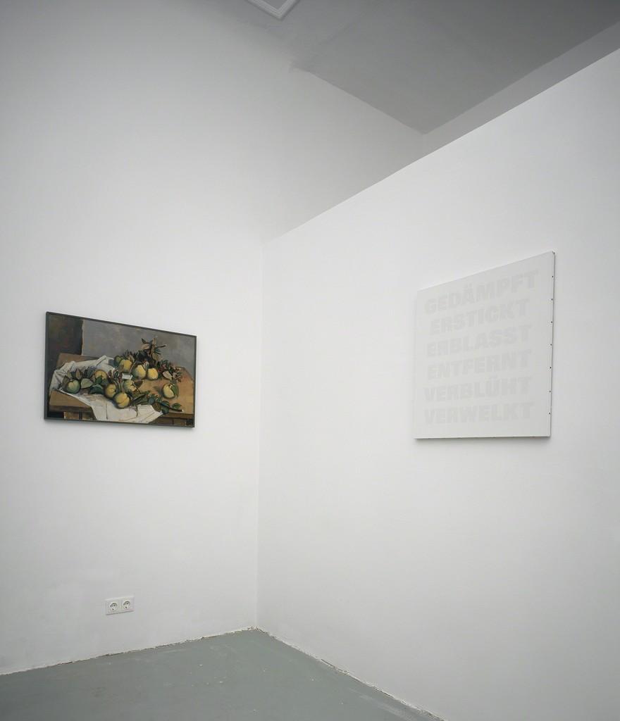 Installation view, Remy Zaugg, Gedämpt, Erstickt, Erblasst, Entfernt, Verblüht, Verwelkt