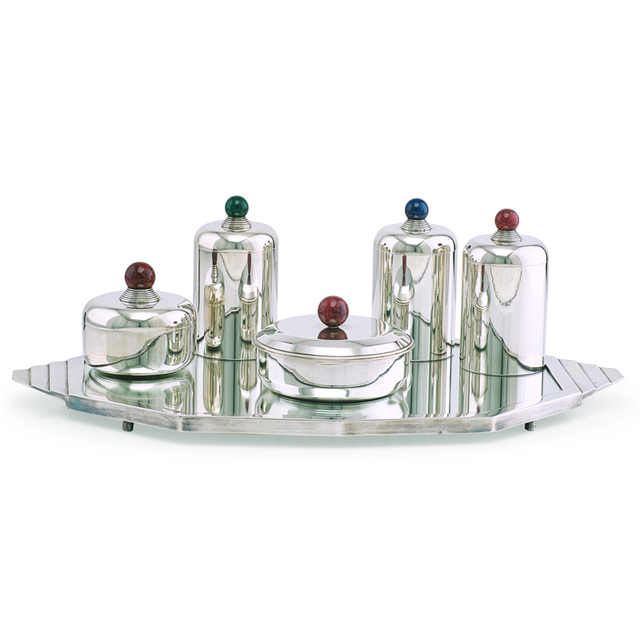 Jean E. Puiforcat, 'Five Art Deco canisters on associated tray by unidentified maker, France', 1930s, Rago