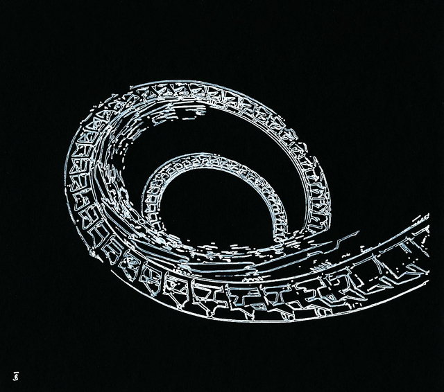 Joachim Biehler, 'Montagnes Russes', 2017, Drawing, Collage or other Work on Paper, White Ink on black paper (160 grammes), Galerie Geraldine Banier