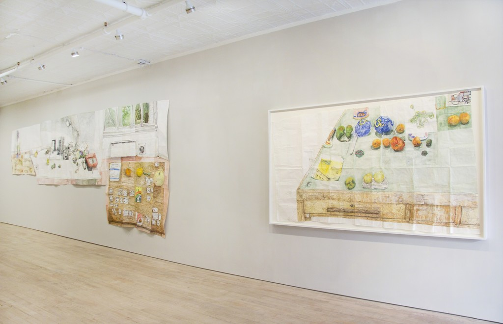 "Installation view, ""Tables and pills and things,"" Pierogi"