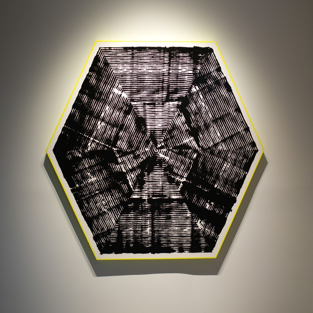 Jason REVOK Kundalini (Hexagon) Loop Painting , 2016 Synthetic polymer and oil enamel on canvas 72 x 72 in (182.88h x 182.88w cm)