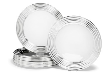 12 sterling silver and silver plates with fluted rim.