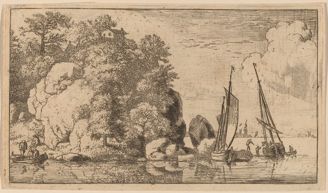 Allart van Everdingen, 'Two Boats on a Wide River', probably c. 1645/1656, Print, Etching, National Gallery of Art, Washington, D.C.