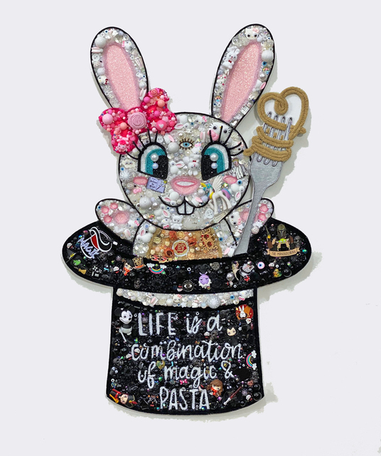 """Christybomb, ' """"Life is Combination of Magic and Pasta""""  ', 2020, Mixed Media, Mixed media on wood, Corey Helford Gallery"""